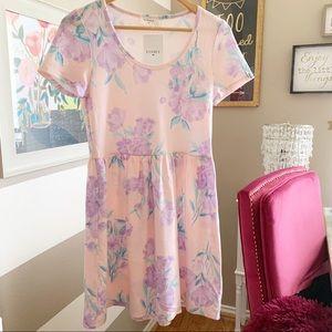Lavender floral babydoll style dress size medium